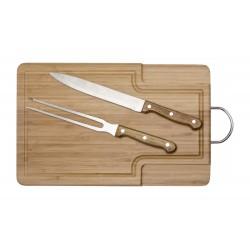 Tabla de Madera con Cuchilla y Tenedor Asador