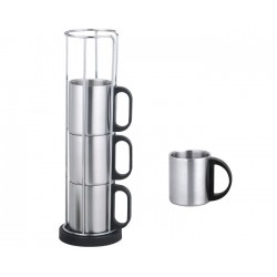 JGO TAZAS TERMICAS (SET)5PZ. COFFEE MIX PLATEADO