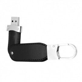 LLAVERO DE CURPIEL COLOR NEGRO CON USB DE 8 GB