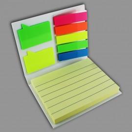 Estuche con notas adhesivas y banderas